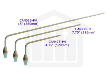 15 inch (380mm) bent PEEK sampling cannula with luer adapter  Hanson Research compatible