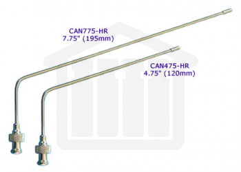 """7.75"""" (195mm) Bent SS Sampling Cannula with Luer Adapter and Permenent Tip Hanson Research Compatible"""