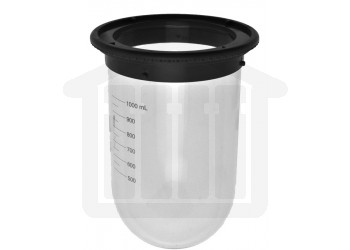 1000ml Hanson Research Easi-Lock, USP Precision Vessel for Vision Series - Clear Glass. OEM# 74-104-101