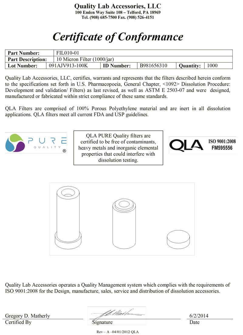 Dissolution Filter Certificate